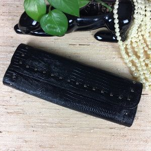 Dana Buchman Black Studded Reptile Embossed Clutch